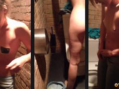 В туалете дискотеки сучка разделась и попросила трахнуть в позе в позе раком